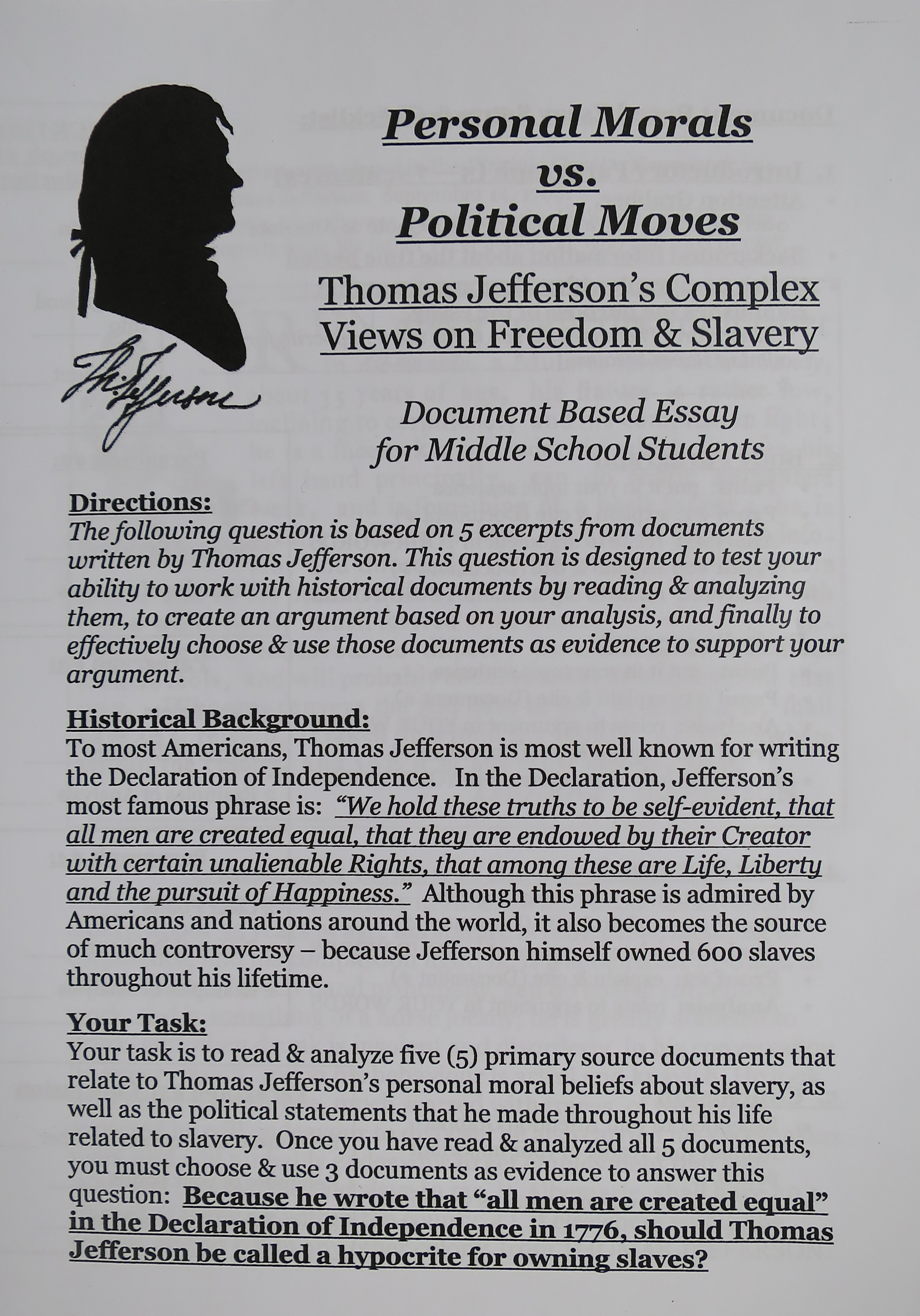 an analysis of the paper using jeffersons declaration of independence This research paper a brief analysis of the declaration of independence and other 64,000+ term papers, college essay examples and free essays are available now on reviewessayscom autor: review • march 1, 2011 • research paper • 781 words (4 pages) • 726 views.